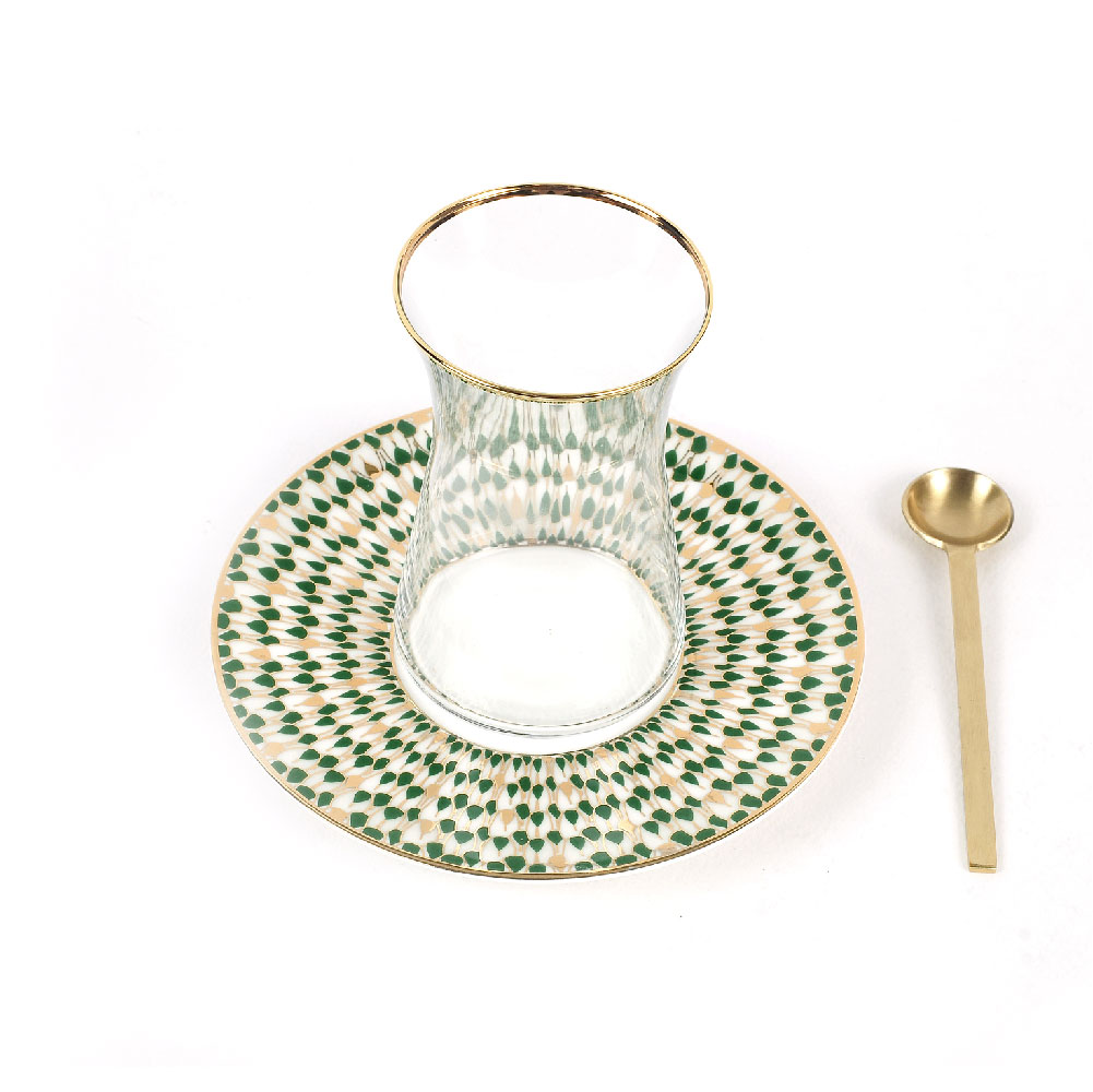 Zarina Swirl Green Tea Cup - Set of 6