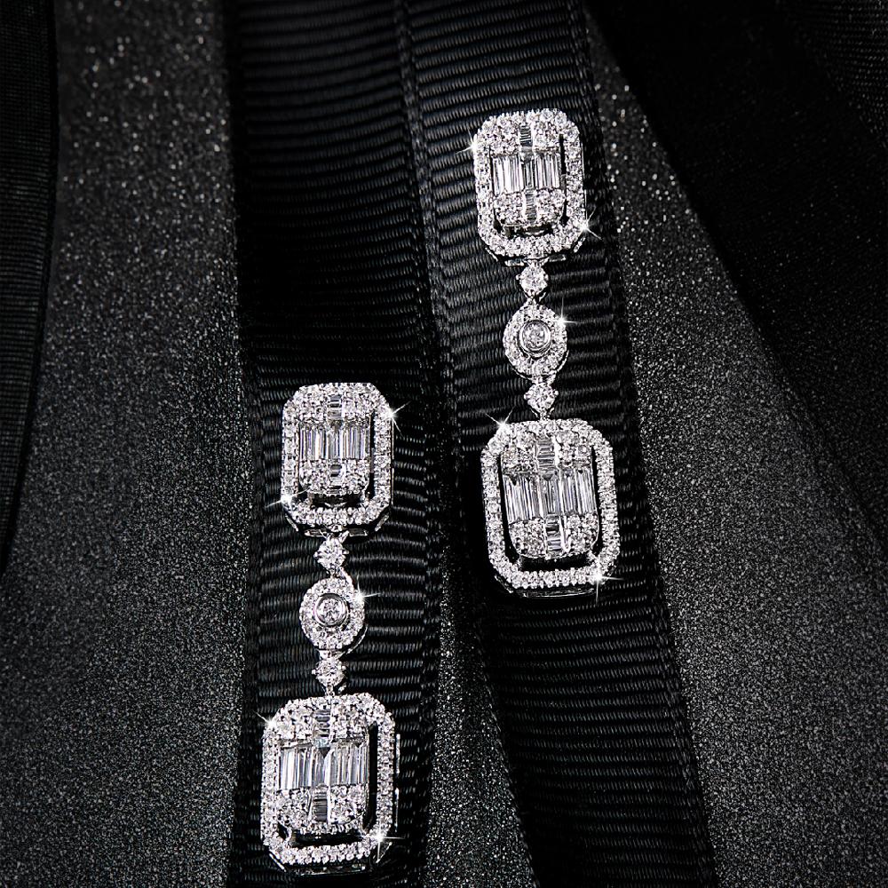 Emerald Cut Hanging Earrings
