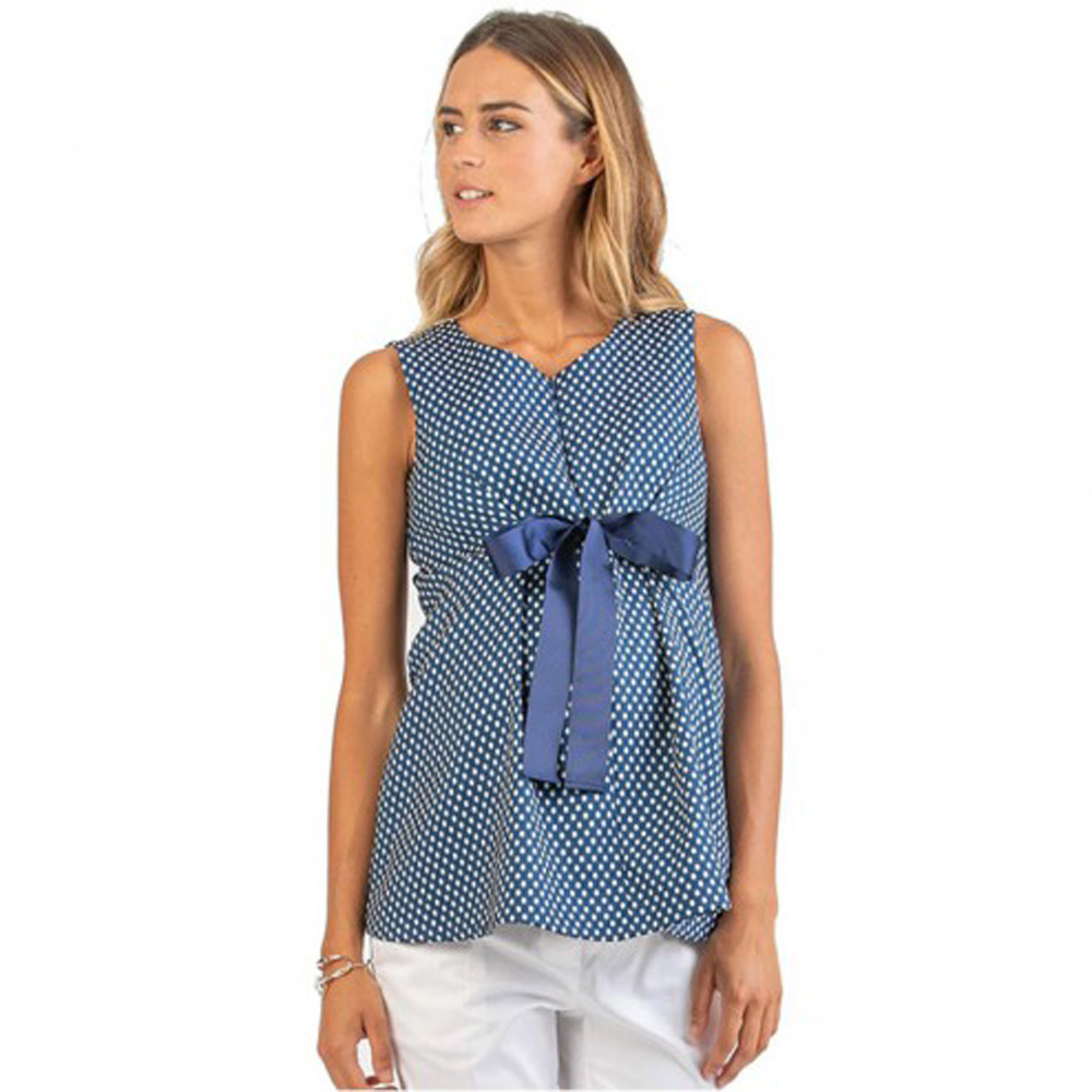 Attesa Polka Dot Maternity & Nursing Top With Bow
