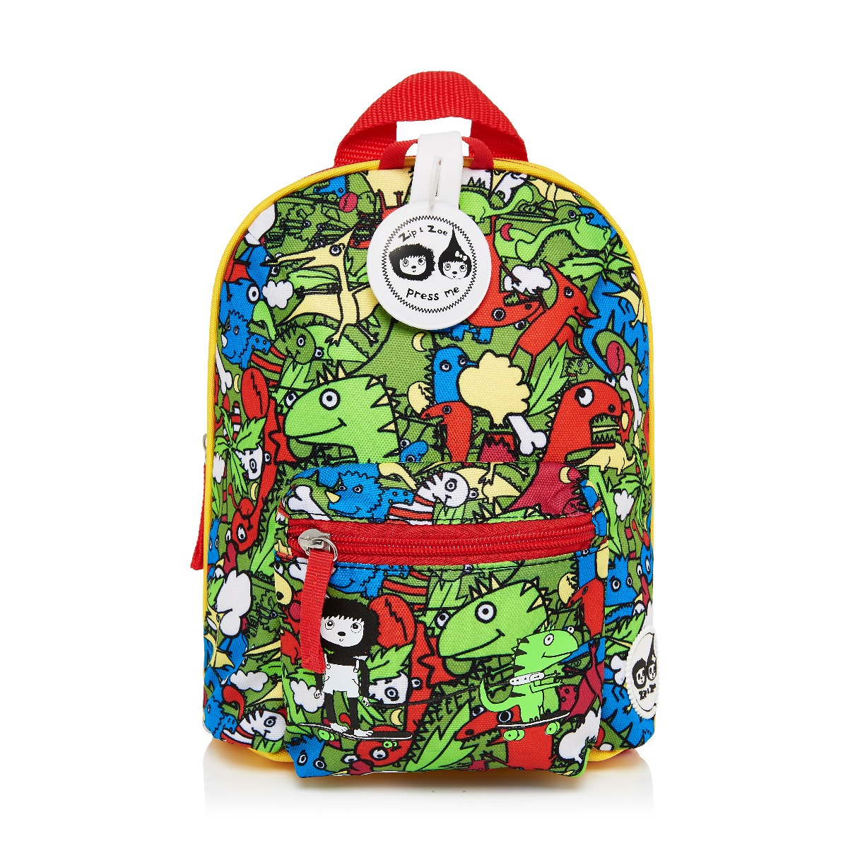 Zip and Zoe Mini Backpack+ Safety Harness (1-4Y) Dino Multi
