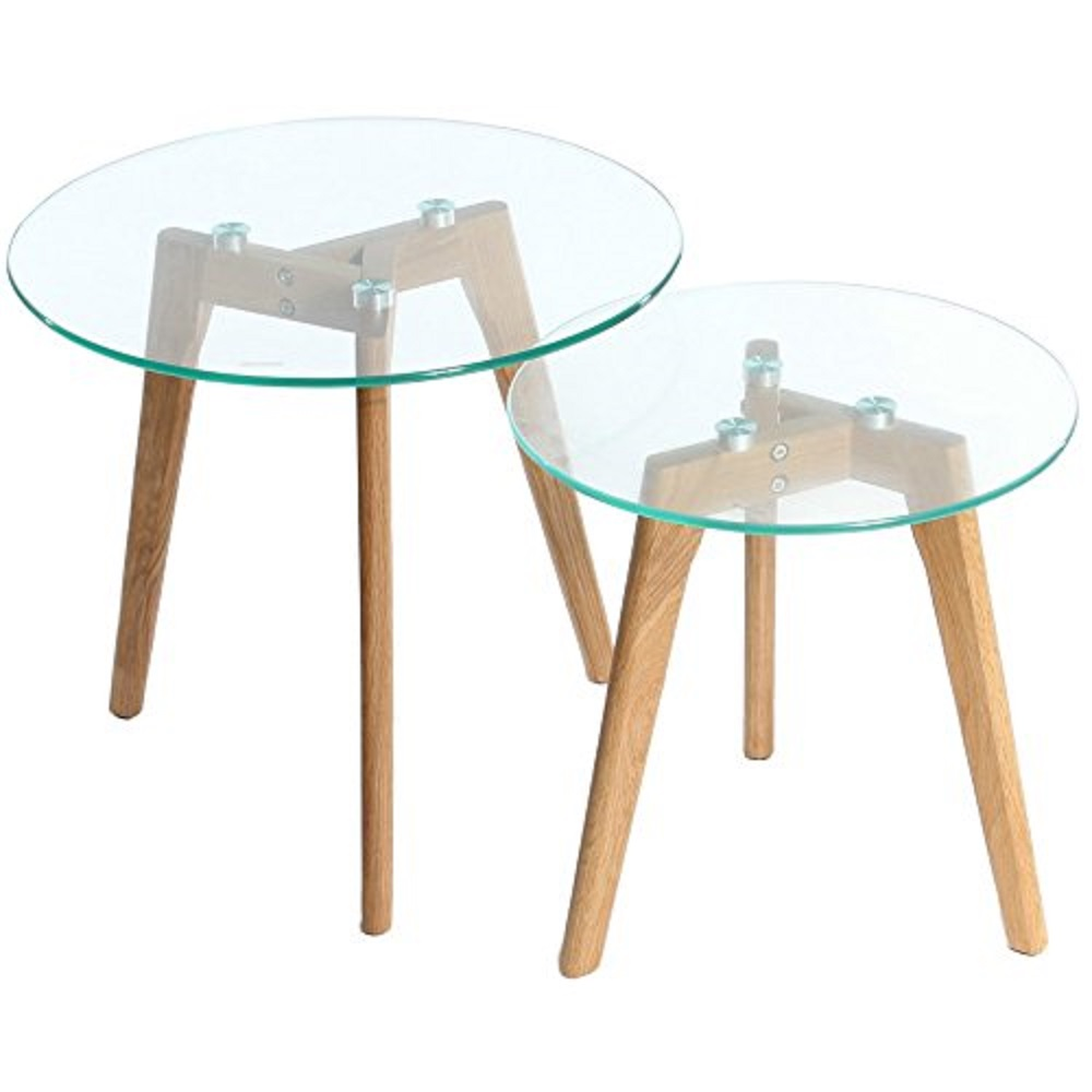 Side Table  SET 2 Glass Top with Wood Leg