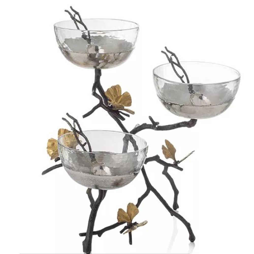 Butterfly Ginkgo Triple Bowl Set