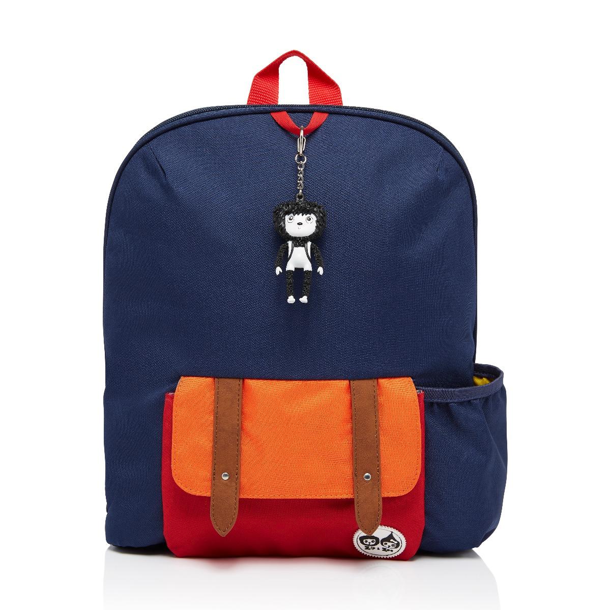 Zip and Zoe Midi Kid's Backpack (3-7Y) Navy Colour Block