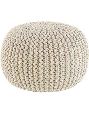 Chunky Cotton Braided Round Pouf - Mauve