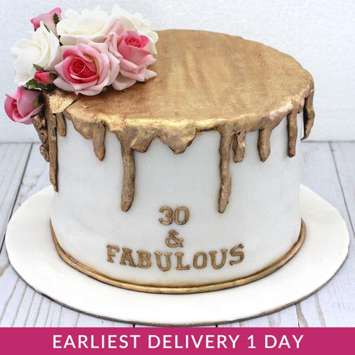 Golden Drizzle Flower Cake