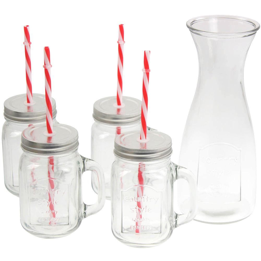 Giles & Posner Decanter With 4 Glasses and Straw