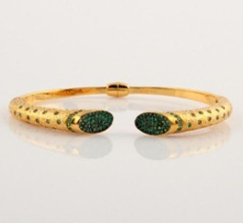 ASG Bangle with Green Quartz Bead Stones