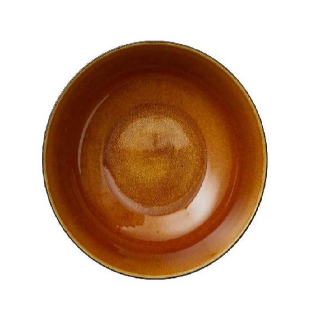 Bitz Stoneware Salad Bowl, Amber, 30cm
