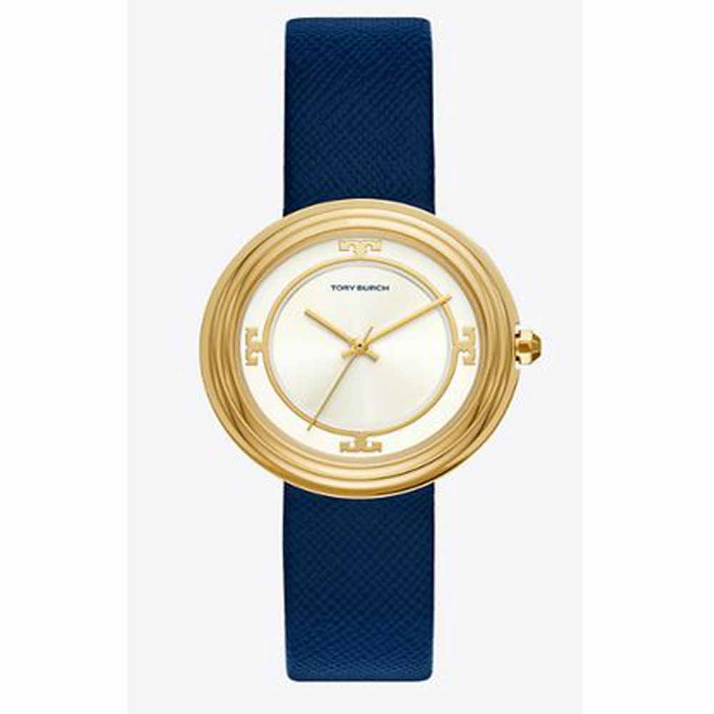 Bailey watch, navy leather/gold tone/ivory, 34 mm