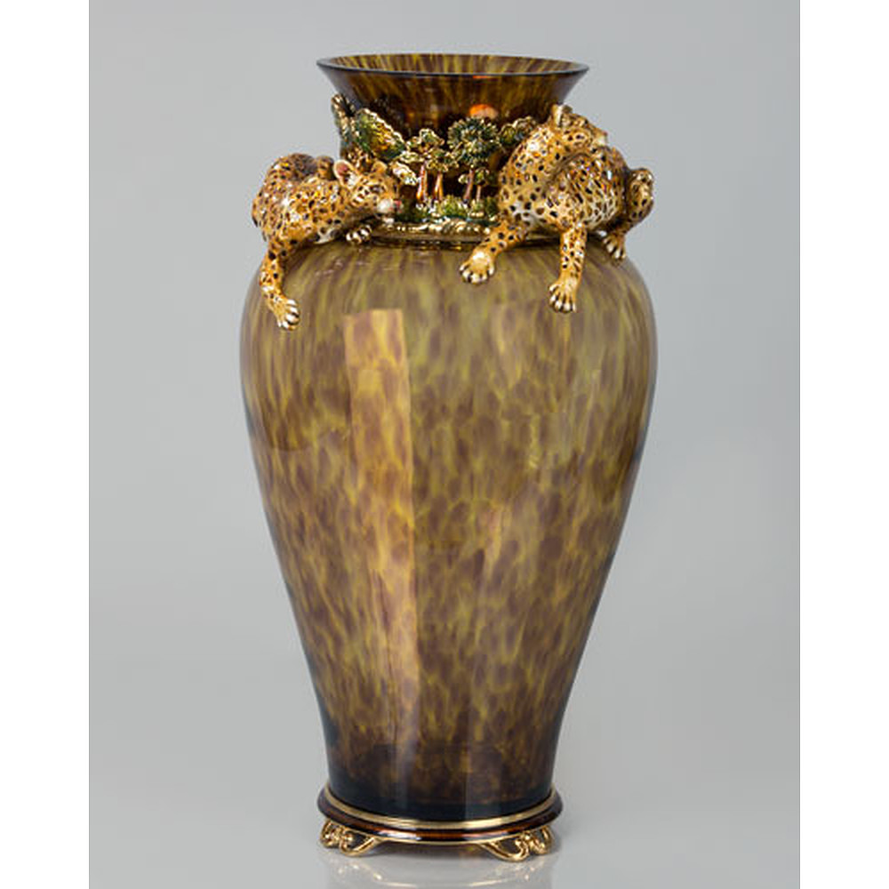 Jay Strongwater Jungle Vase with Leopard