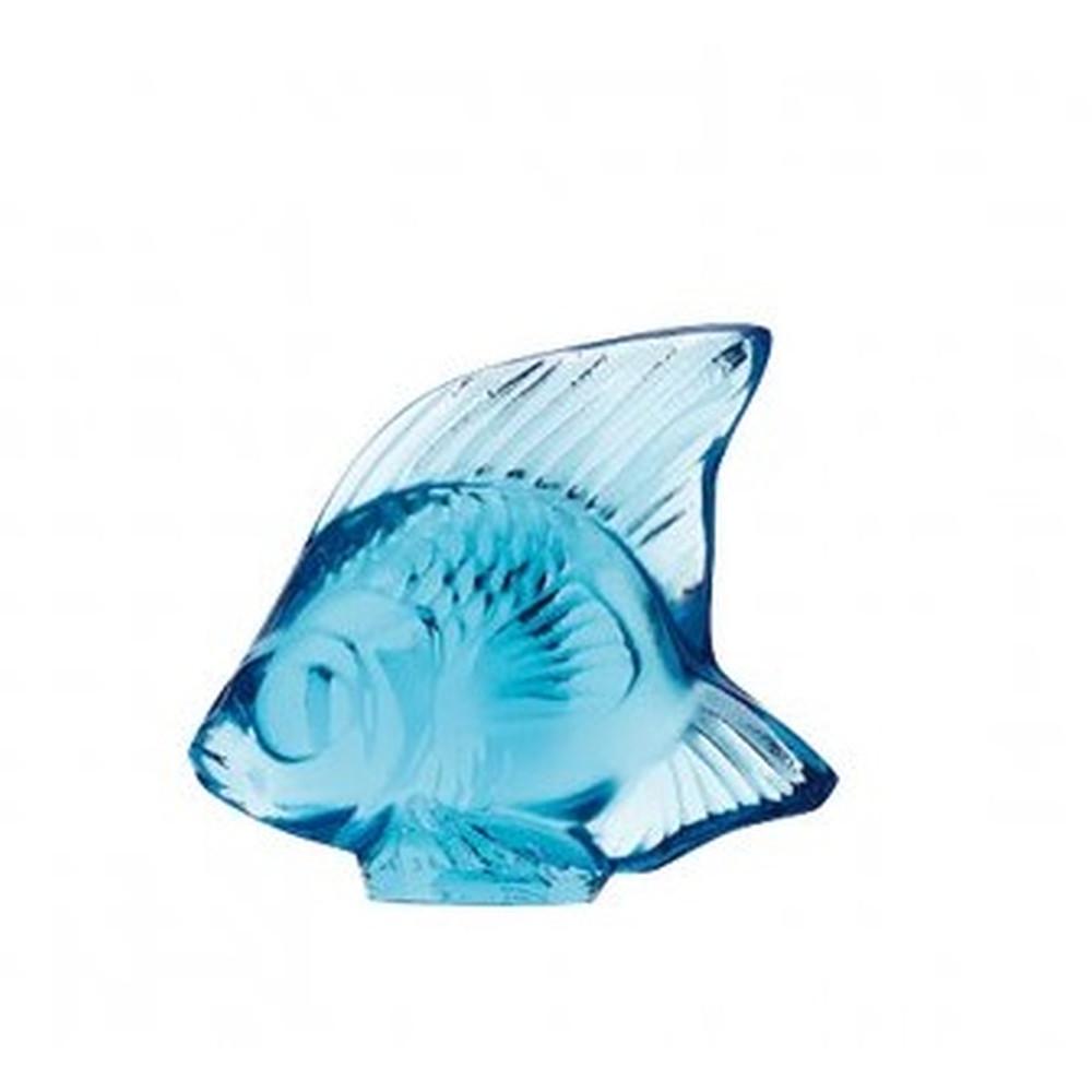 Lalique Fish Sculpture Light Blue