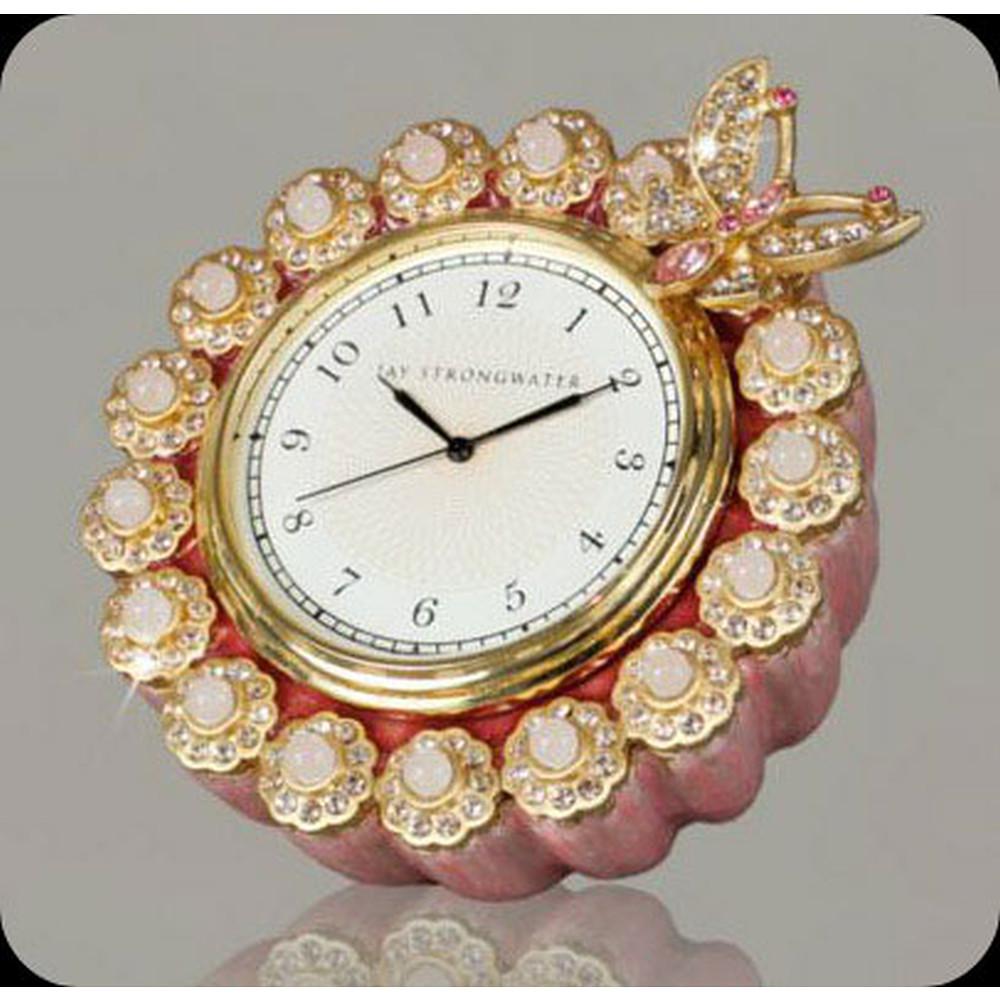 Jay Strongwater Maiti Flower Edge Round Clock