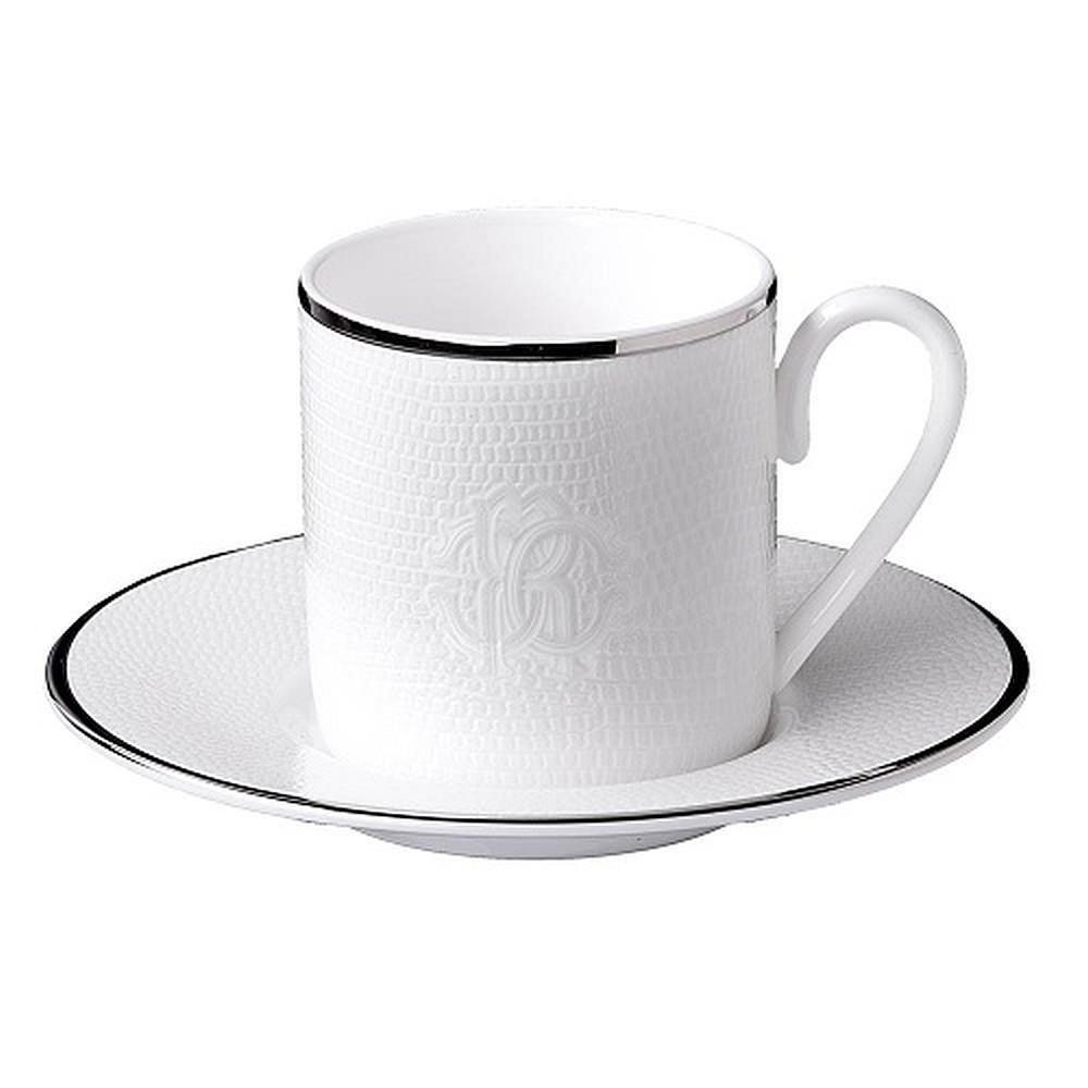 Roberto Cavalli Lizzard Coffee Cup & Saucer Pl atinum