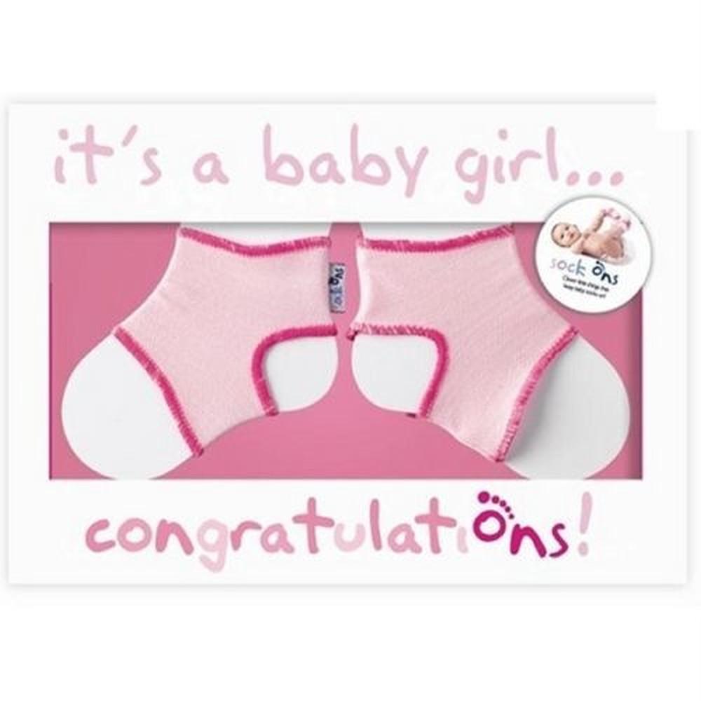 Sock Ons Greeting Card (Pink)