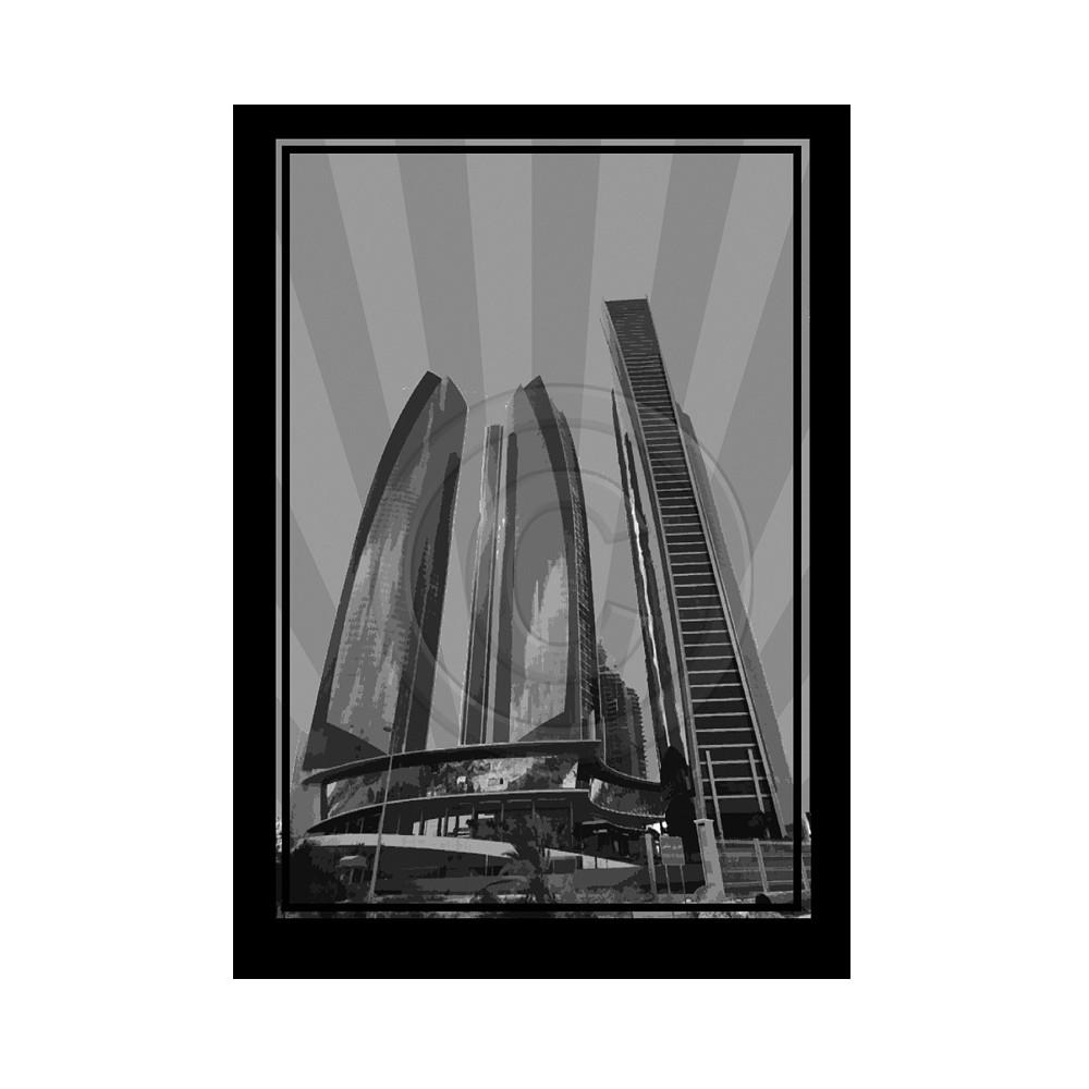 Deco Arabia Etihad Towers black & white A0