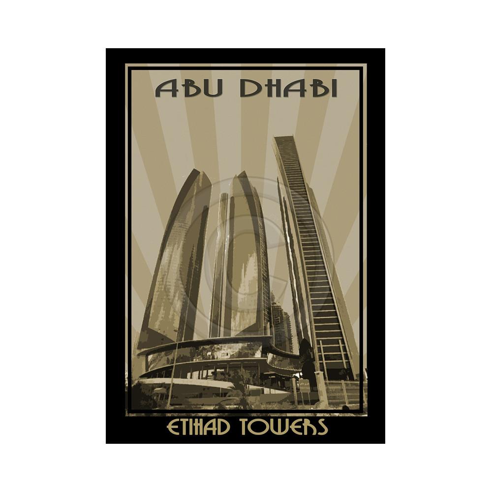 Deco Arabia Etihad Towers sepia w/ text A0