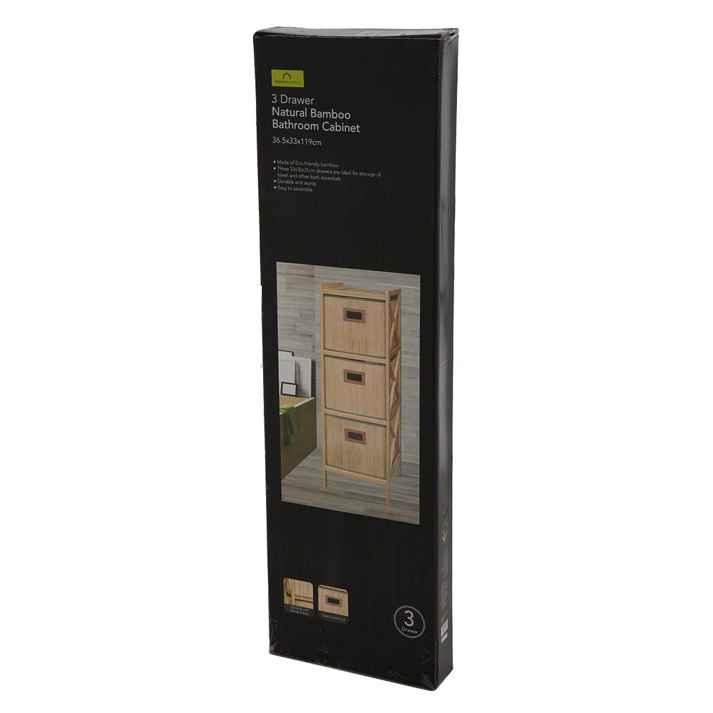 Home Centre Bamboo Bathroom Cabinet with 3 Drawers