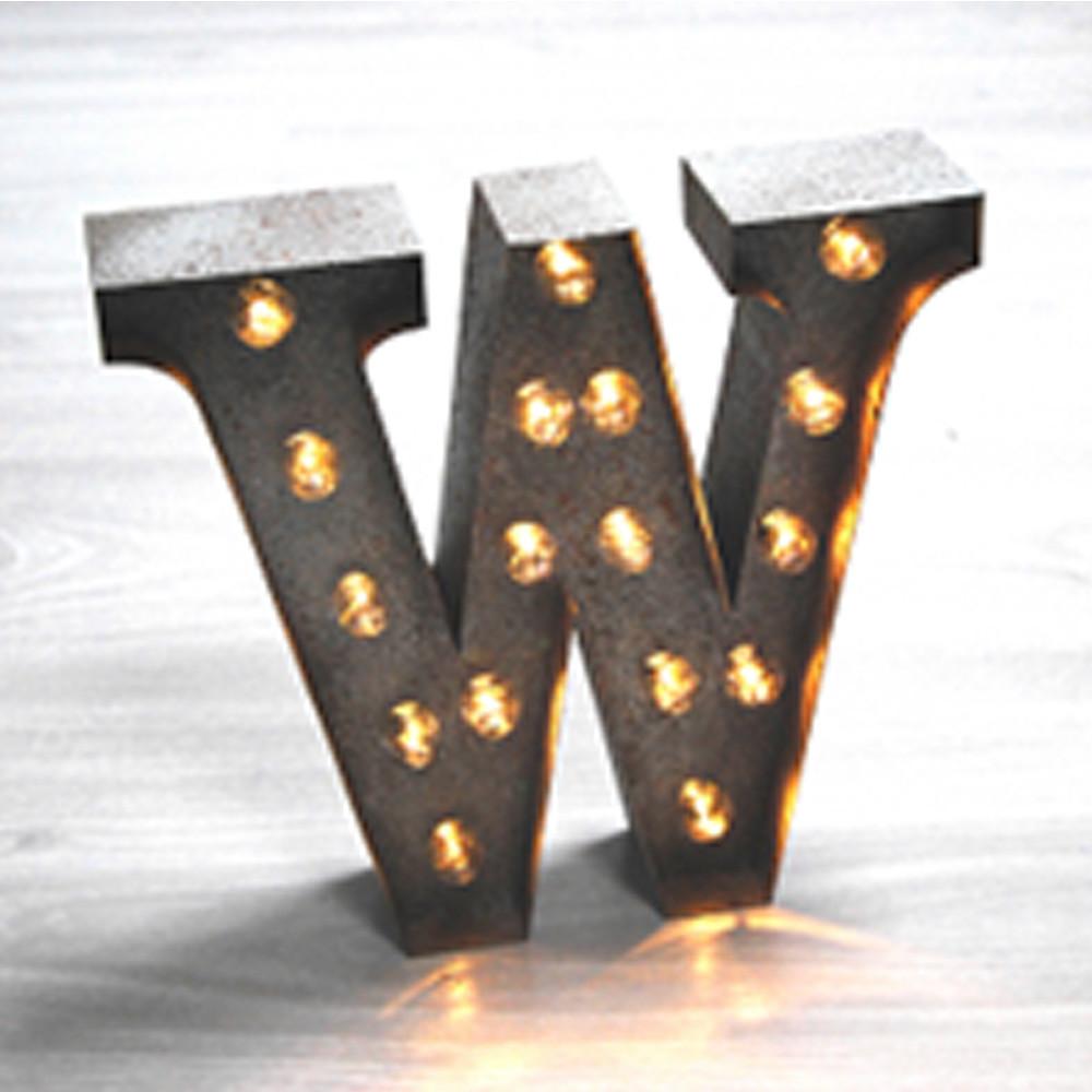 Lights & Letters Silver Rusty W