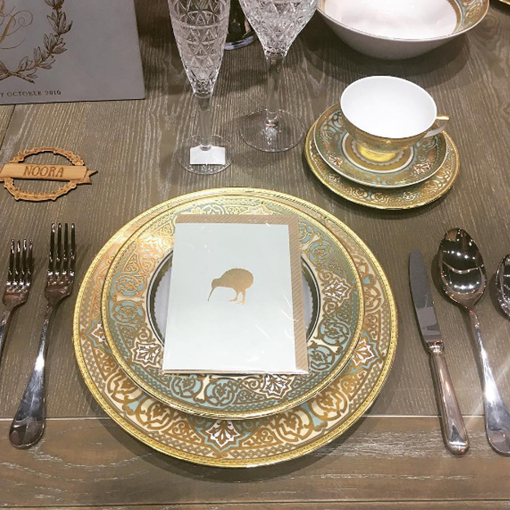 Nest Constanza Verona Seladon Gold Dinner Set