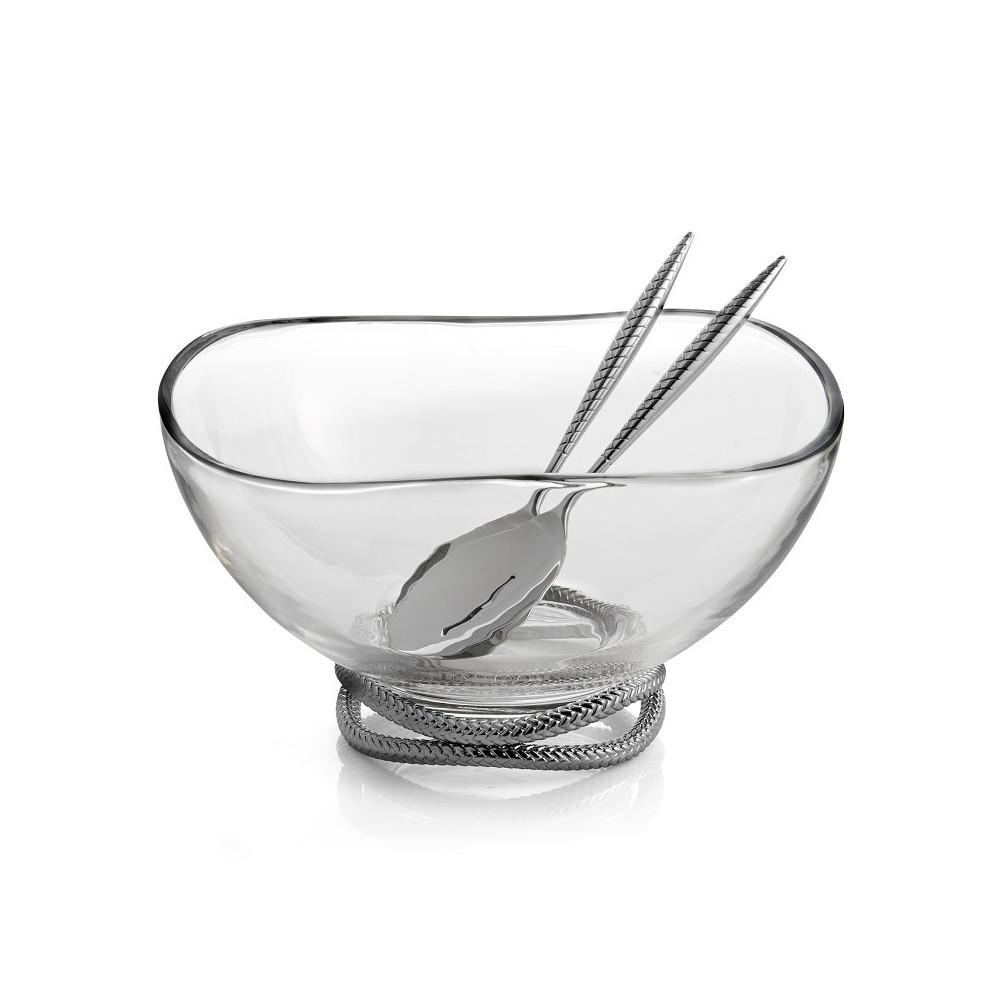 Nambe Braid Glass Salad Bowl w/ Servers
