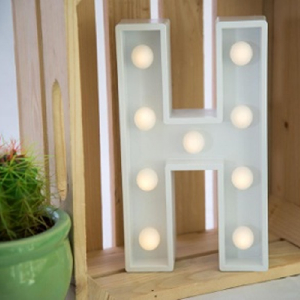 Lights & Letters Marquee Letter White H