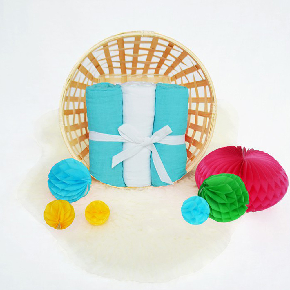 JustEssentials Muslin Wrap 3Packs White&Turquoise