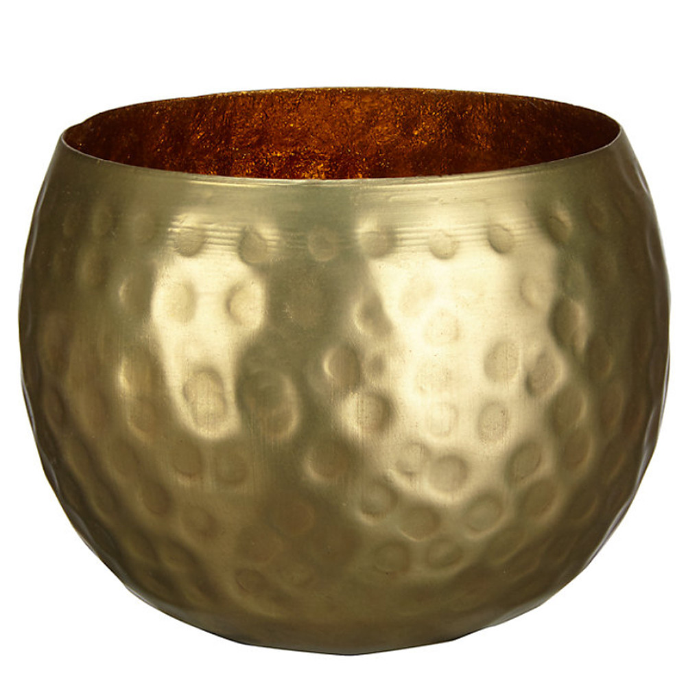 John Lewis Hammered Tealight Brass H77 W100 D100mm