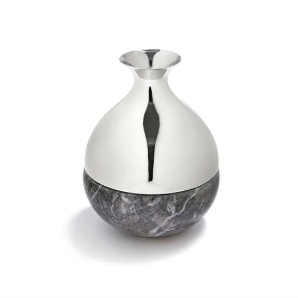 Tanagra RLS Dual Vase Bud Grey Marble Silver