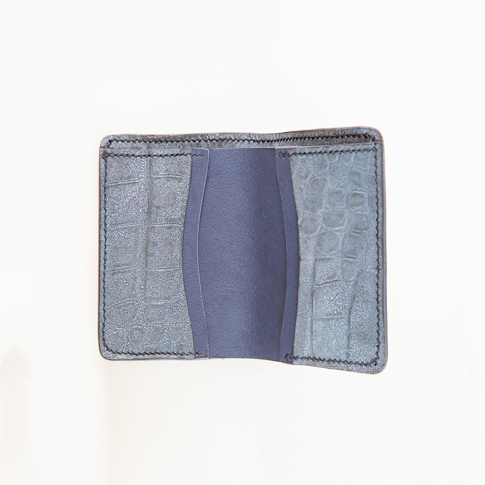 Wallet In Navy Blue And Crocodile Print
