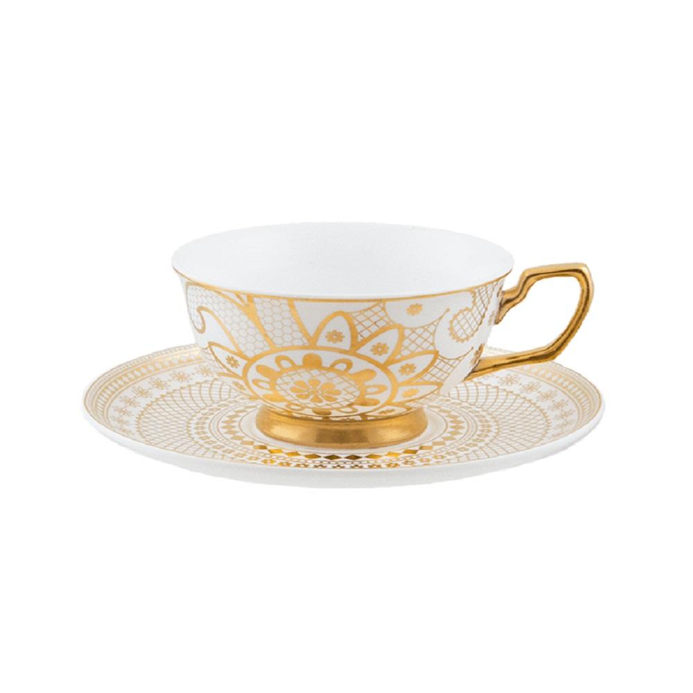 Cristina Re Georgia Lace Pearl Teacup Pearl White & Gold