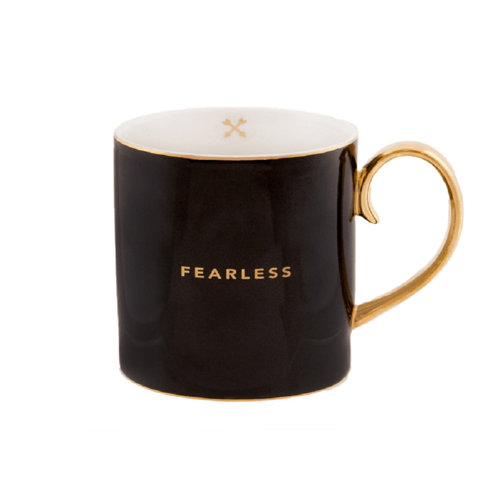 Cristina Re 'Words Of Wisdom' Collection Mug Fearless Ebony Black & Gold