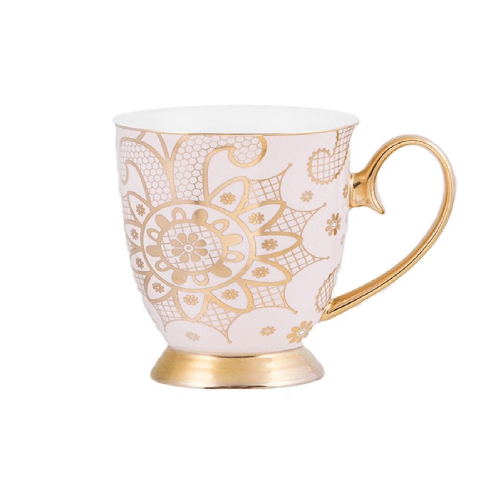 Cristina Re Georgia Lace Pearl Mug White & Gold