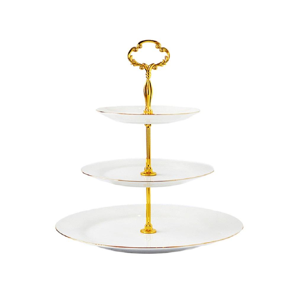 Cristina Re 3 Level Vintage Cake Stand Ivory & Gold