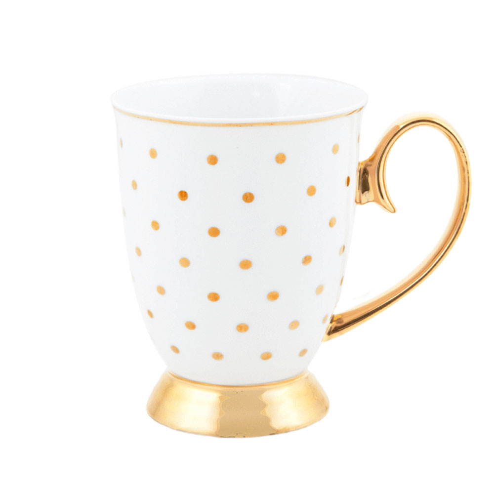 Cristina Re Signature High Tea Collection Mug Kelly Polka Dot White & Gold