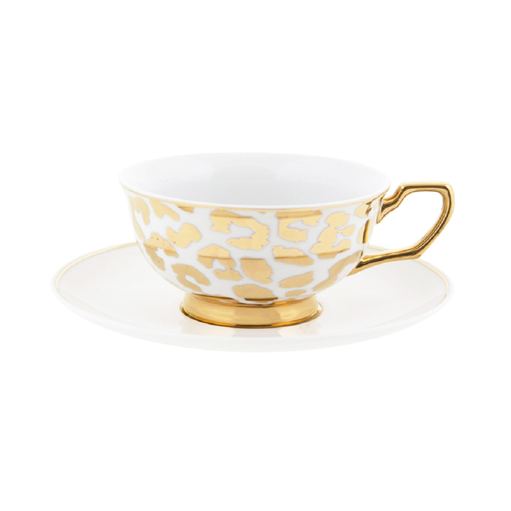 Cristina Re Signature Louis Leopard Gold Coffee Cup & Saucer White & Gold