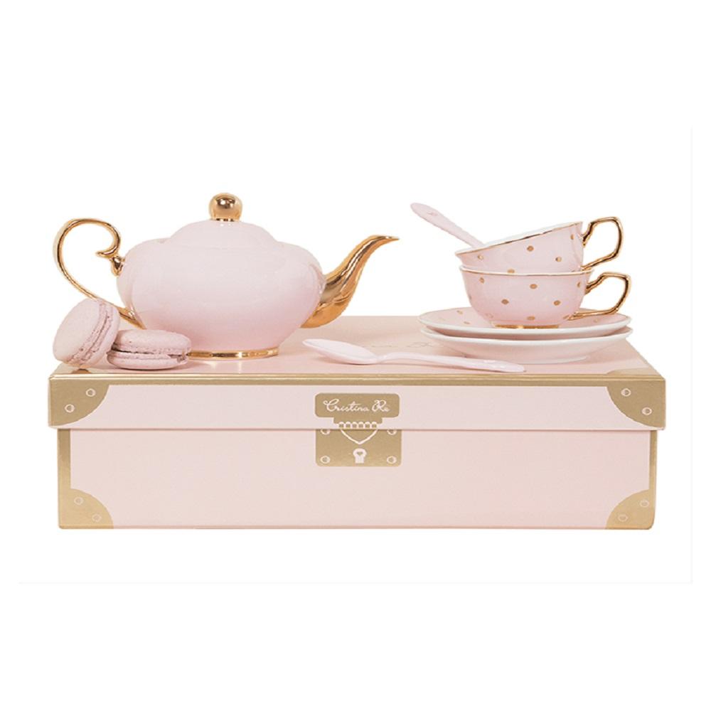 Cristina Re Children'S 2 Cup Tea Set Pink & Gold