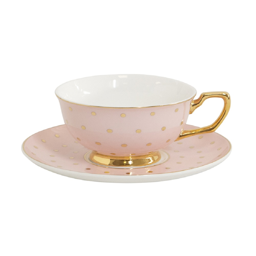 Cristina Re Signature Polka Coffee Cup & Saucer Blush & Gold