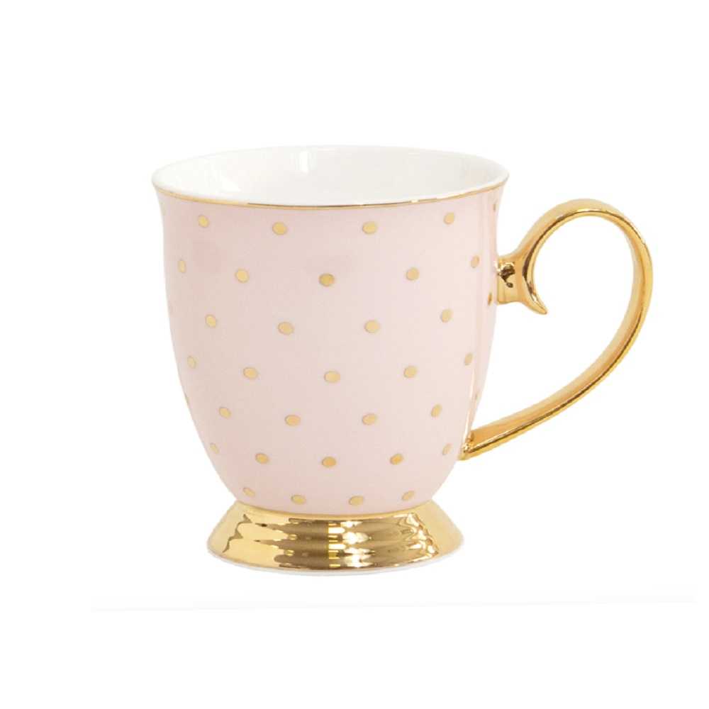 Cristina Re Signature High Tea Collection Mug Polka Blush & Gold