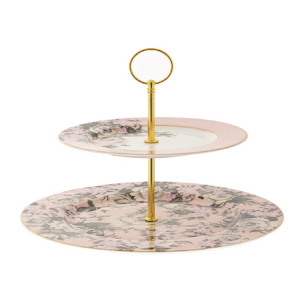 Cristina Re 2 Level Cake Stand Belle de Fleur Pink & Gold