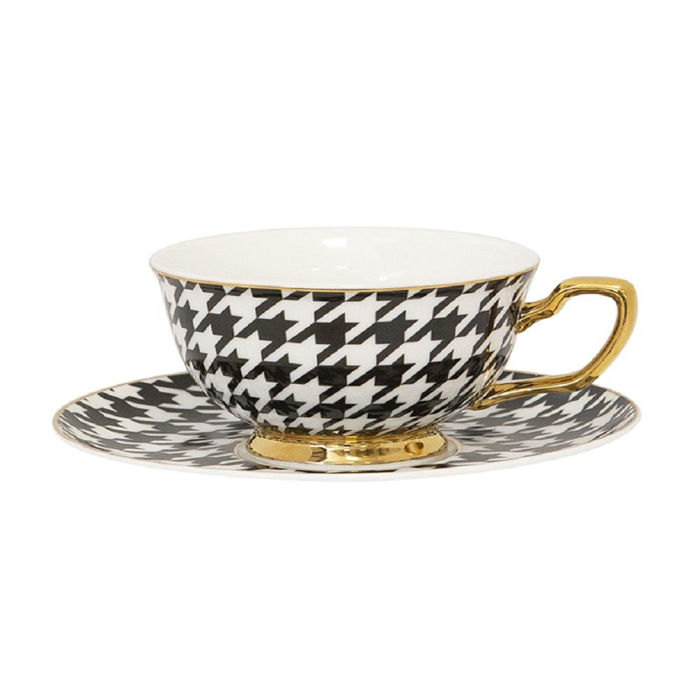 Cristina Re Signature Houndstooth Coffee Cup & Saucer Ebony