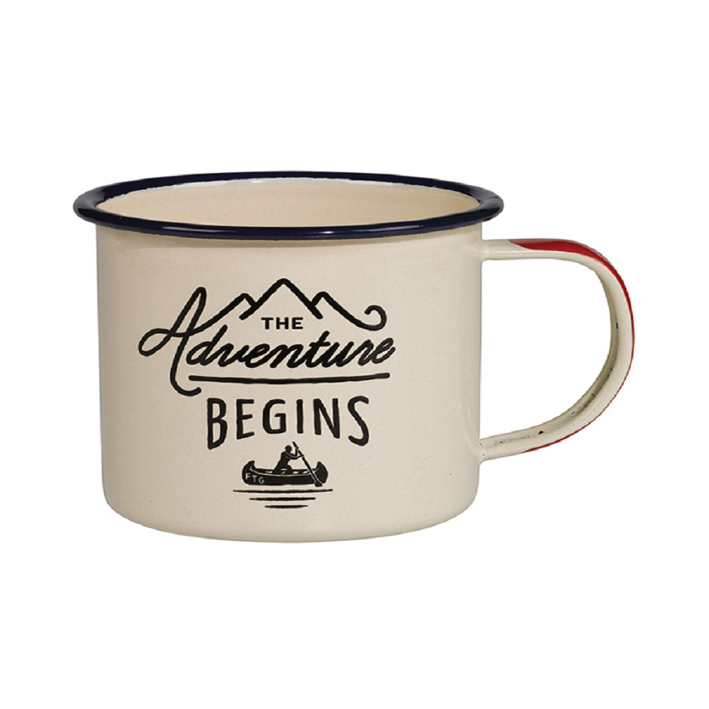 Gentlemen's Hardware The Adventure Begins Enamel Mug Stainless Steel Cream