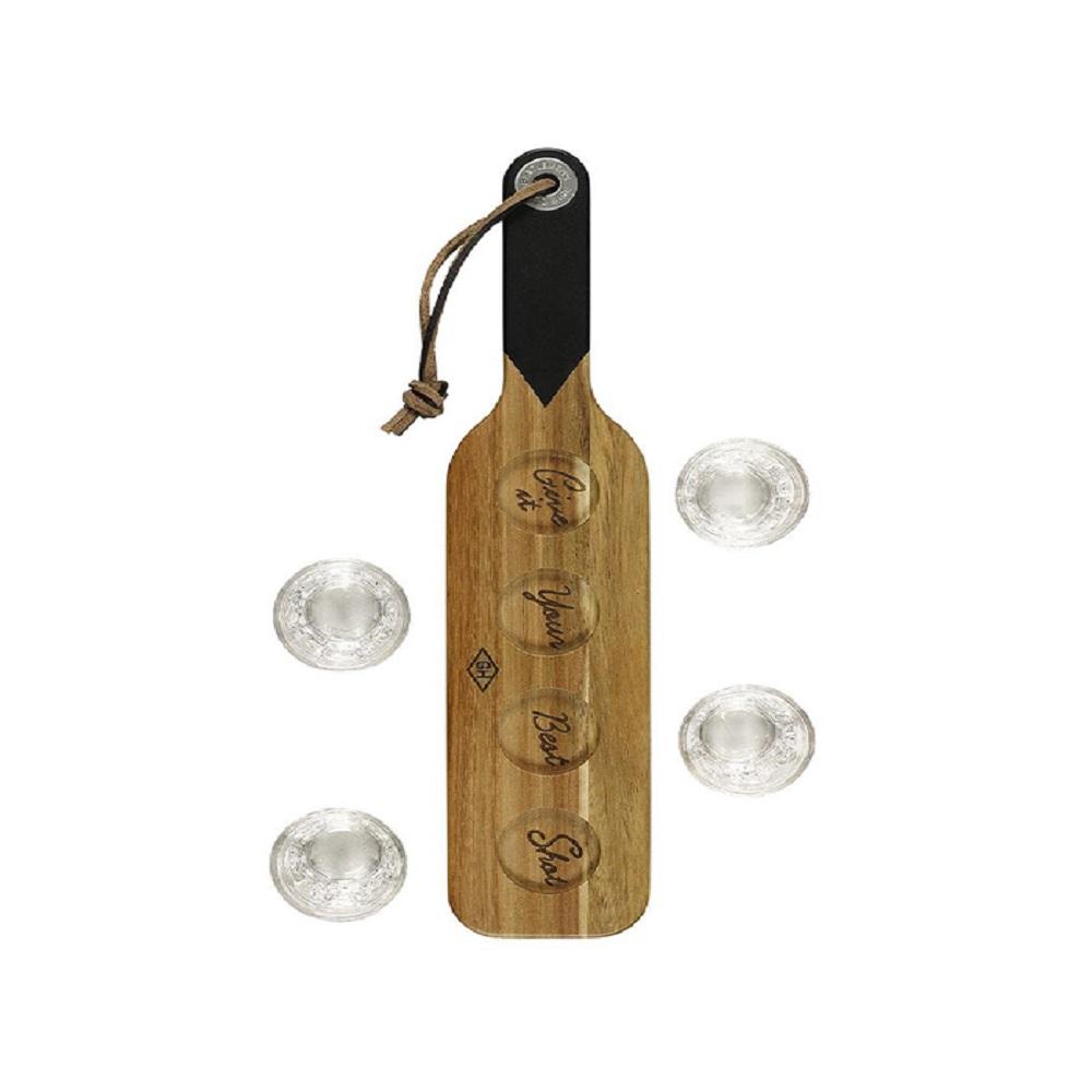Gentlemen's Hardware Serving Paddle & Shot Glasses Wooden