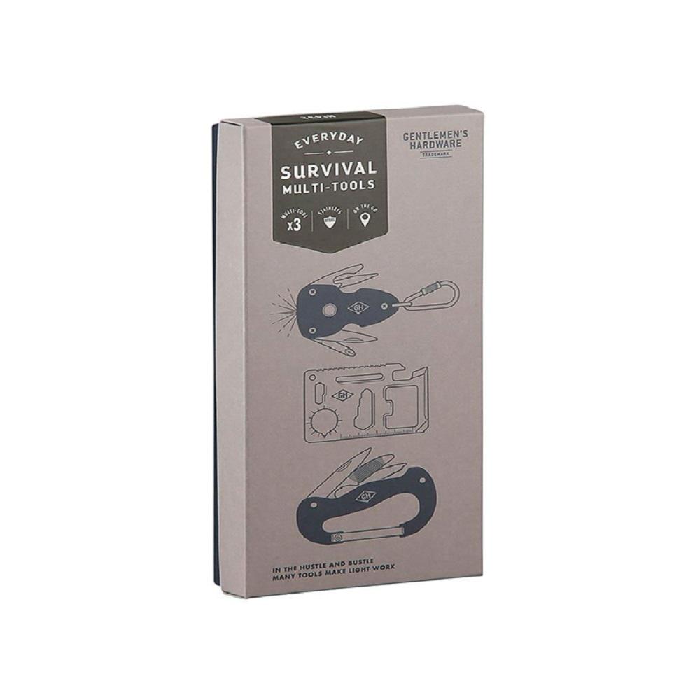 Gentlemen's Hardware Survival Multi-Tool Kit Black & Silver Metal