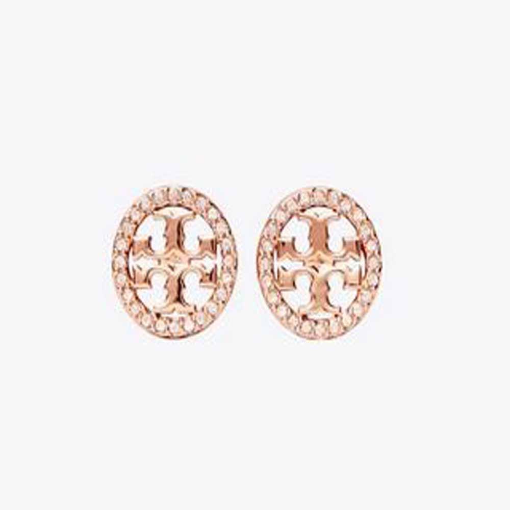 Crystal Logo Circle Stud Earring