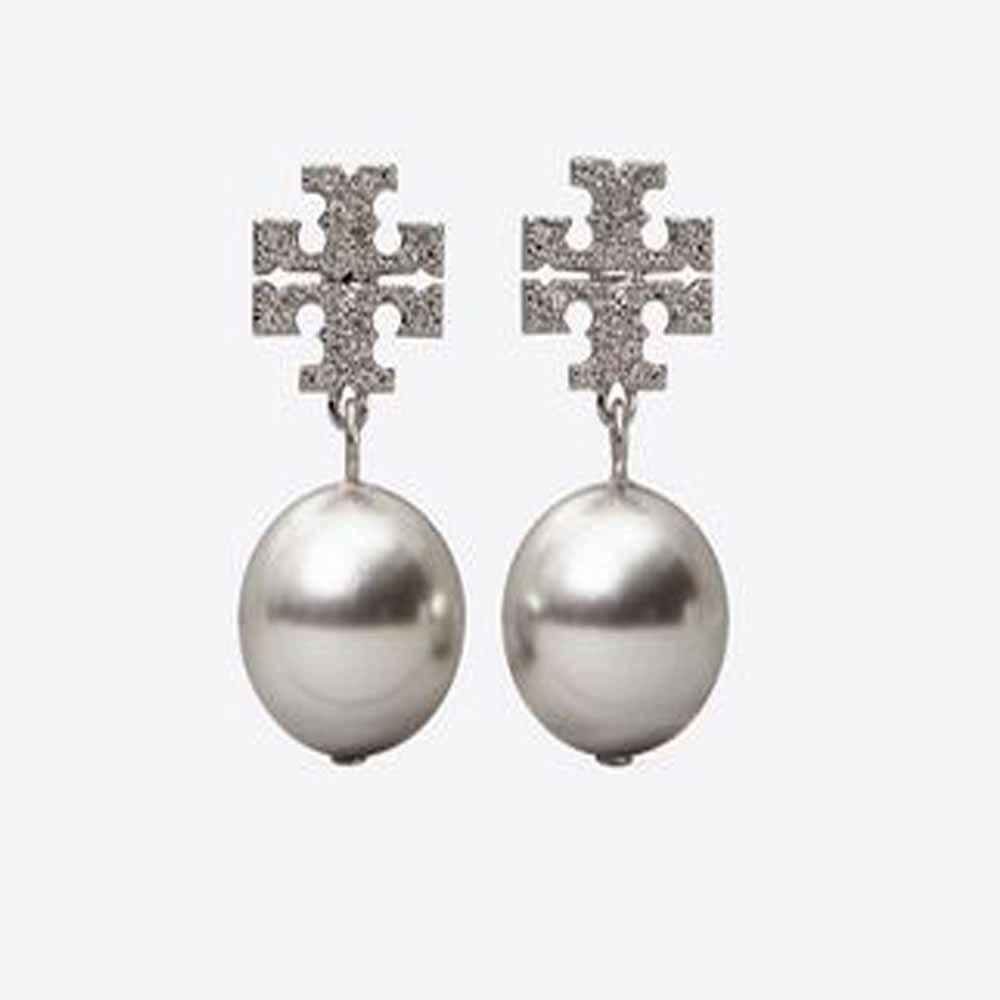 Crystal Pearl Logo Drop Earring
