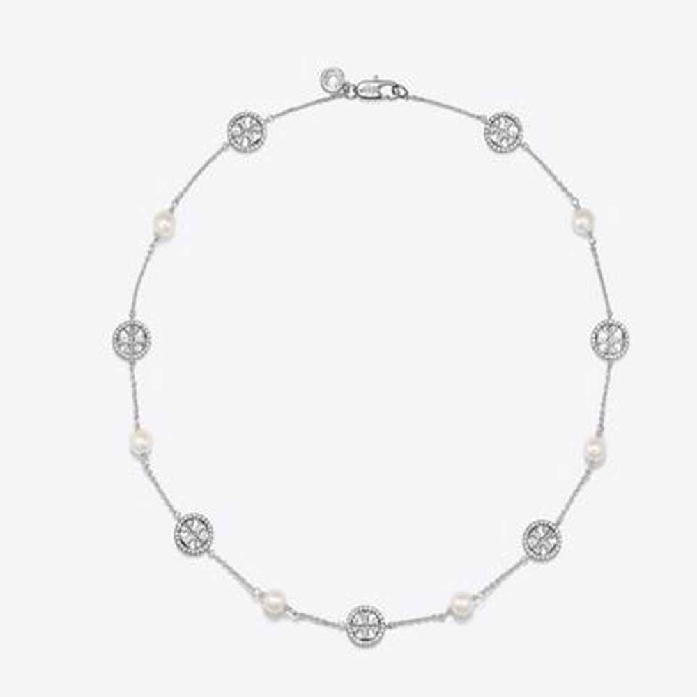 Crystal Pearl Logo Necklace