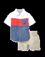 Nautica Two-Piece Colour Block Shirt & Shorts Set -12 mos