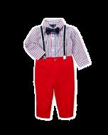 Nautica 4 Piece Check Bodysuit & Pants Set -3-6mos & 6-9mos