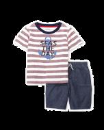 Nautica Two-Piece Stripe Seas The Day Tee & Chambray Shorts Set - 12mos