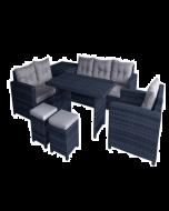 New Delhi 8-Seater High Table Sofa Set with Storage (Black)